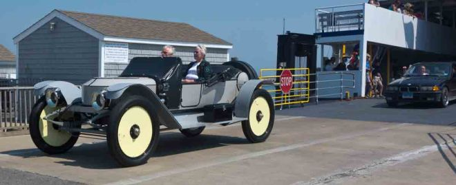 First steam car off the ferry.