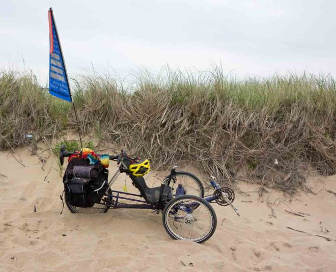Trike at end of Chaplin Road—start of the hike